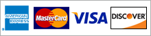 We accept Credit Cards, American Express, Master Card, Visa, Discover